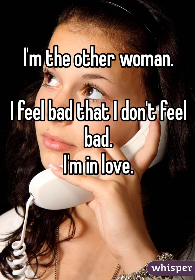 I'm the other woman.  I feel bad that I don't feel bad. I'm in love.