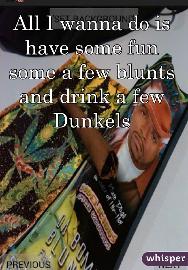 All I wanna do is have some fun some a few blunts and drink a few Dunkels