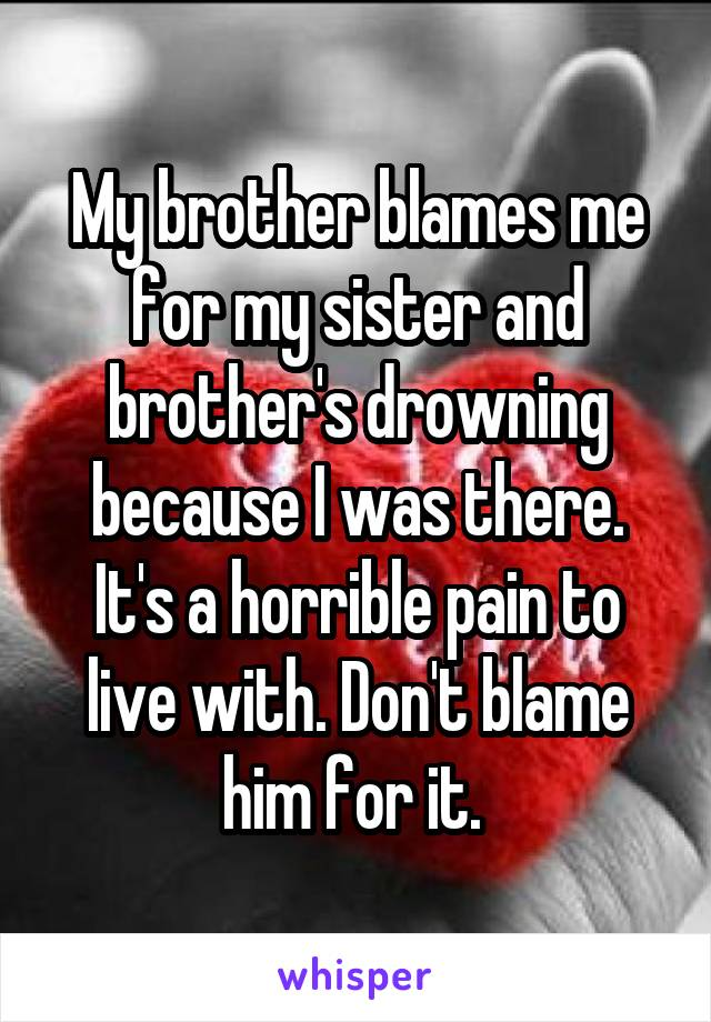 My brother blames me for my sister and brother's drowning because I was there. It's a horrible pain to live with. Don't blame him for it.