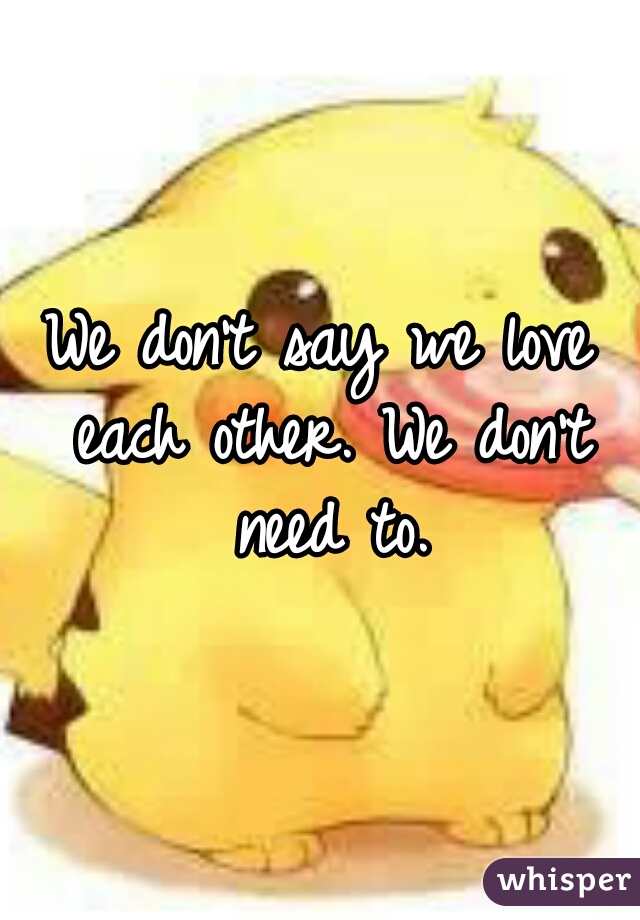 We don't say we love each other. We don't need to.