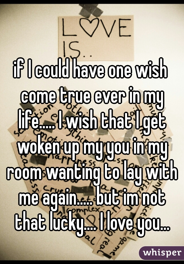 if I could have one wish come true ever in my life..... I wish that I get woken up my you in my room wanting to lay with me again..... but im not that lucky.... I love you...