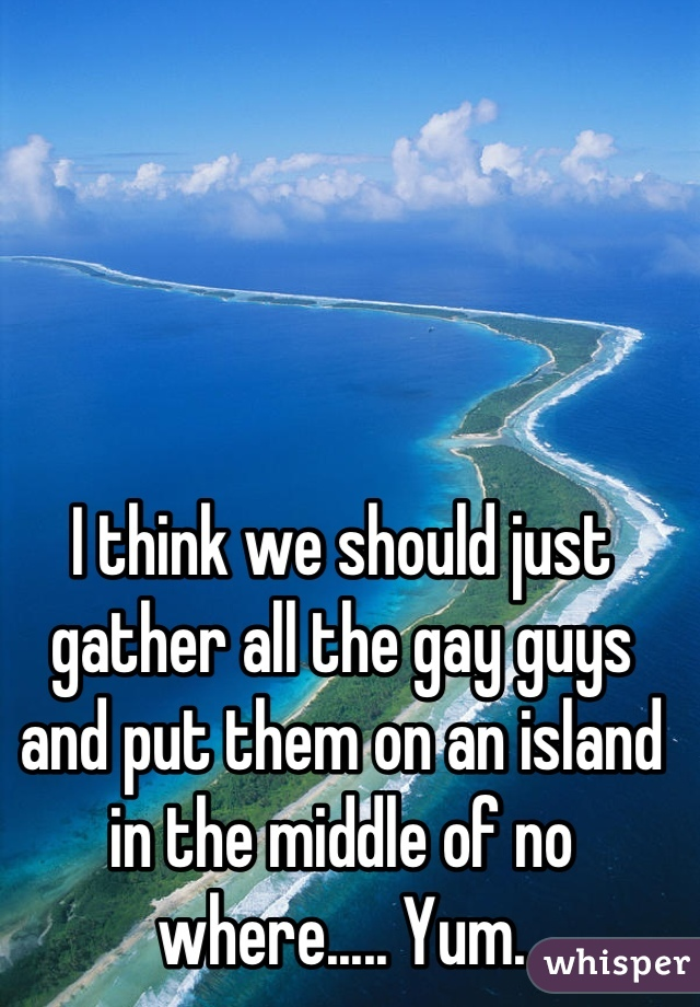 I think we should just gather all the gay guys and put them on an island in the middle of no where..... Yum.
