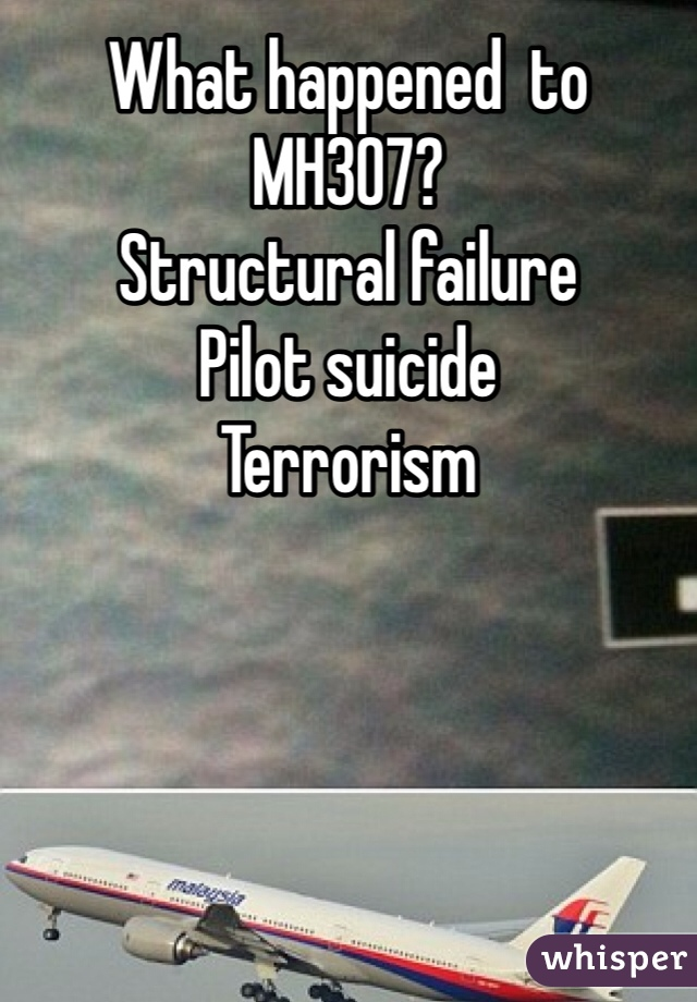 What happened  to MH307? Structural failure Pilot suicide  Terrorism