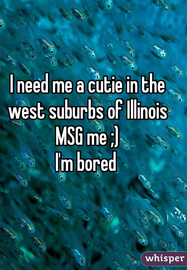 I need me a cutie in the west suburbs of Illinois  MSG me ;) I'm bored