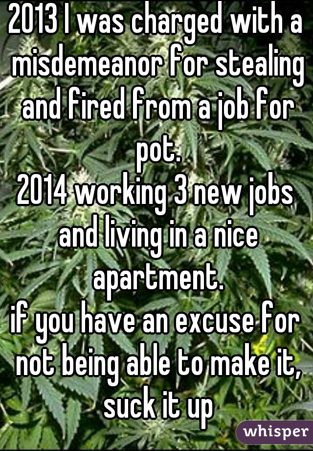 2013 I was charged with a misdemeanor for stealing and fired from a job for pot. 2014 working 3 new jobs and living in a nice apartment. if you have an excuse for not being able to make it, suck it up