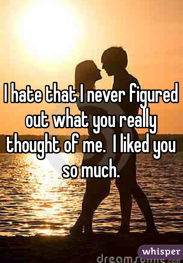 I hate that I never figured out what you really thought of me.  I liked you so much.