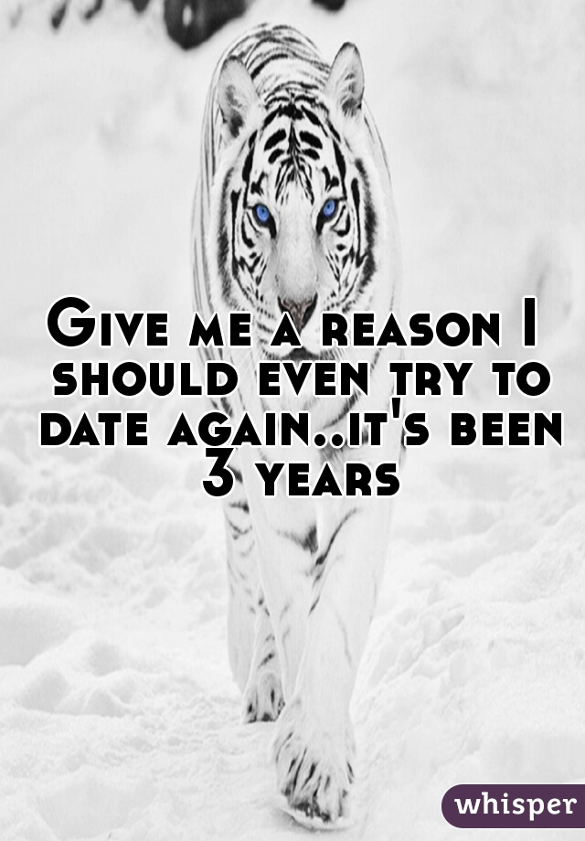 Give me a reason I should even try to date again..it's been 3 years
