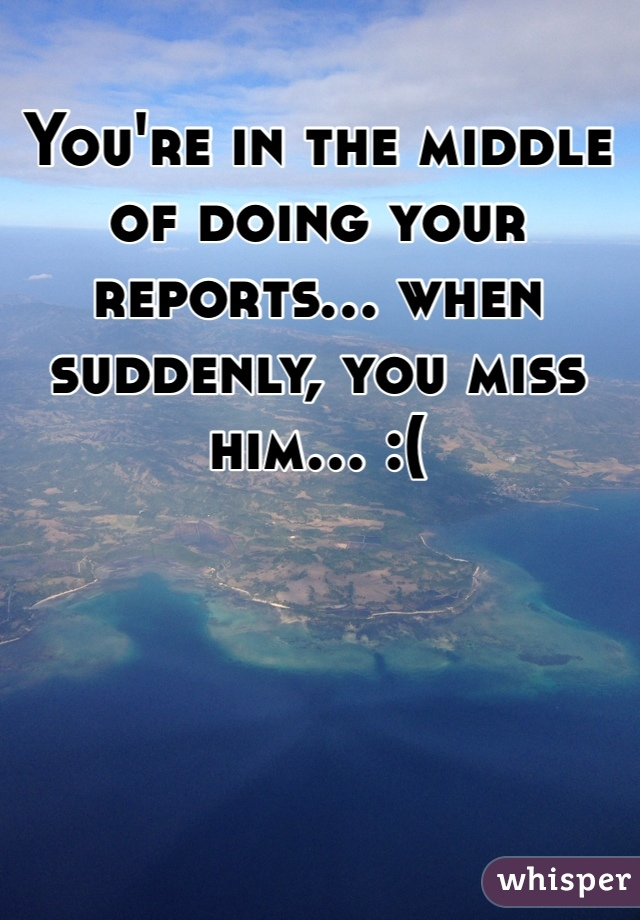 You're in the middle of doing your reports... when suddenly, you miss him... :(