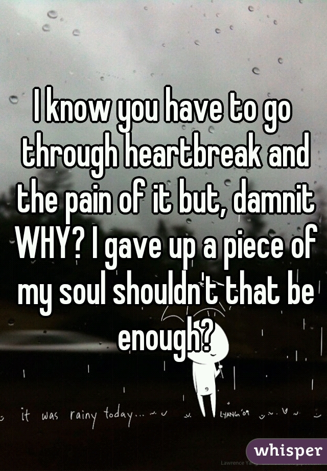 I know you have to go through heartbreak and the pain of it but, damnit WHY? I gave up a piece of my soul shouldn't that be enough?