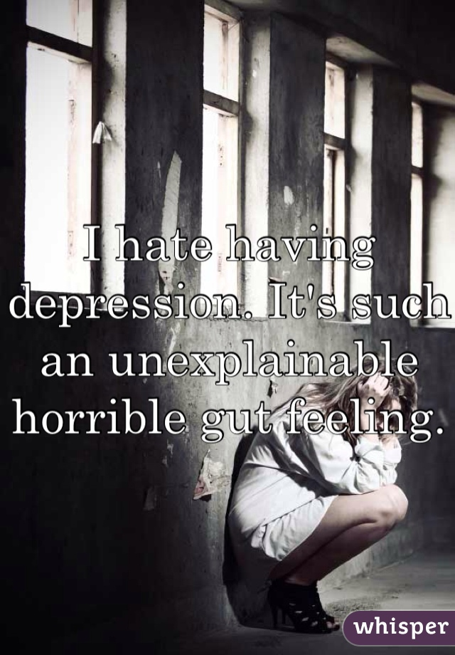 I hate having depression. It's such an unexplainable horrible gut feeling.