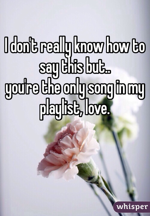I don't really know how to say this but.. you're the only song in my playlist, love.