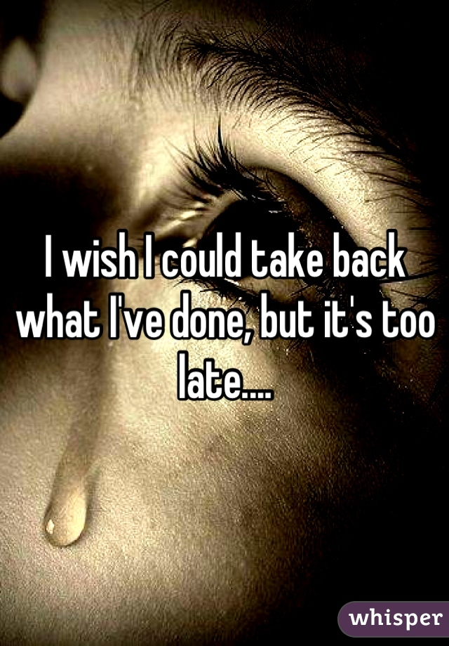 I wish I could take back what I've done, but it's too late....