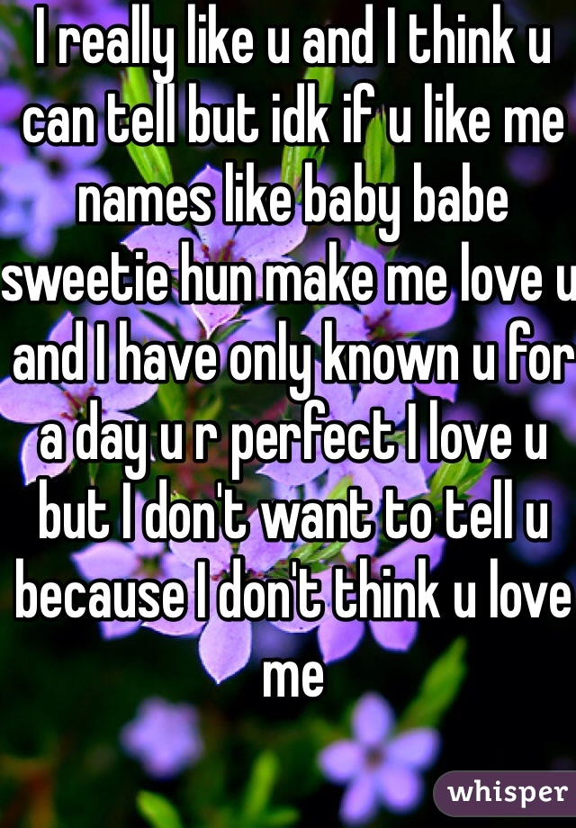 I really like u and I think u can tell but idk if u like me names like baby babe sweetie hun make me love u and I have only known u for a day u r perfect I love u but I don't want to tell u because I don't think u love me