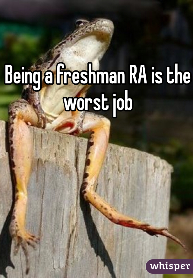 Being a freshman RA is the worst job