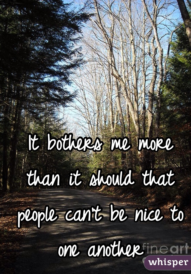It bothers me more than it should that people can't be nice to one another