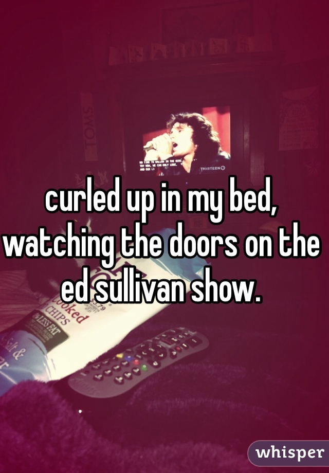 curled up in my bed, watching the doors on the ed sullivan show.