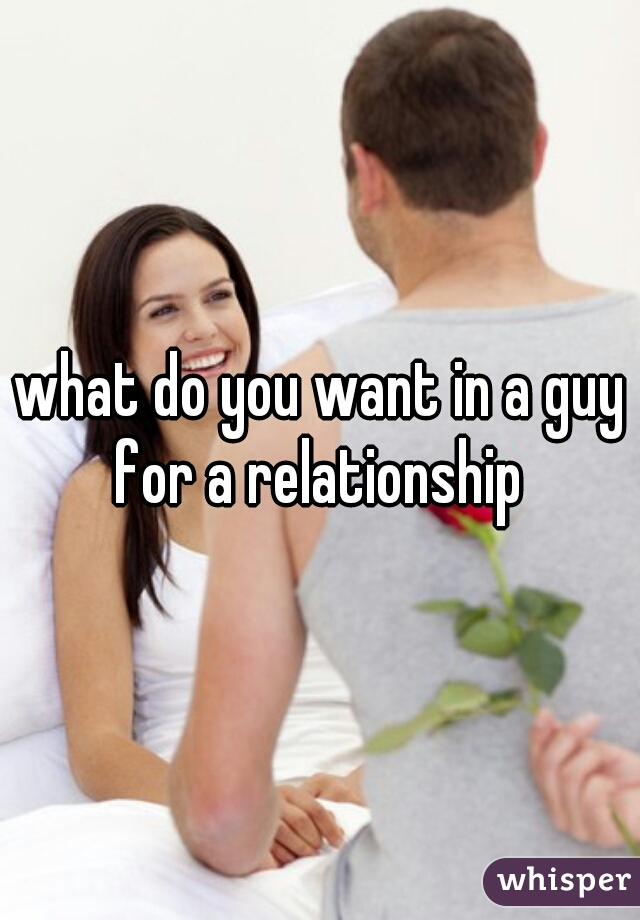 what do you want in a guy for a relationship