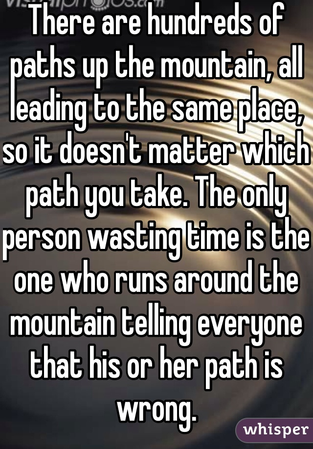 There are hundreds of paths up the mountain, all leading to the same place, so it doesn't matter which path you take. The only person wasting time is the one who runs around the mountain telling everyone that his or her path is wrong.