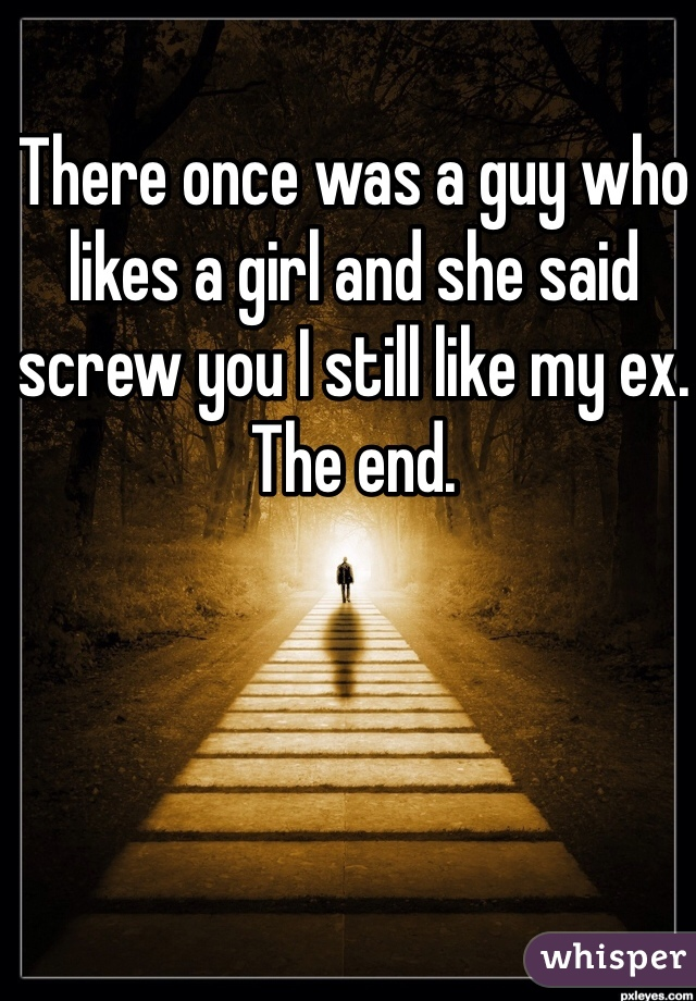 There once was a guy who likes a girl and she said screw you I still like my ex. The end.