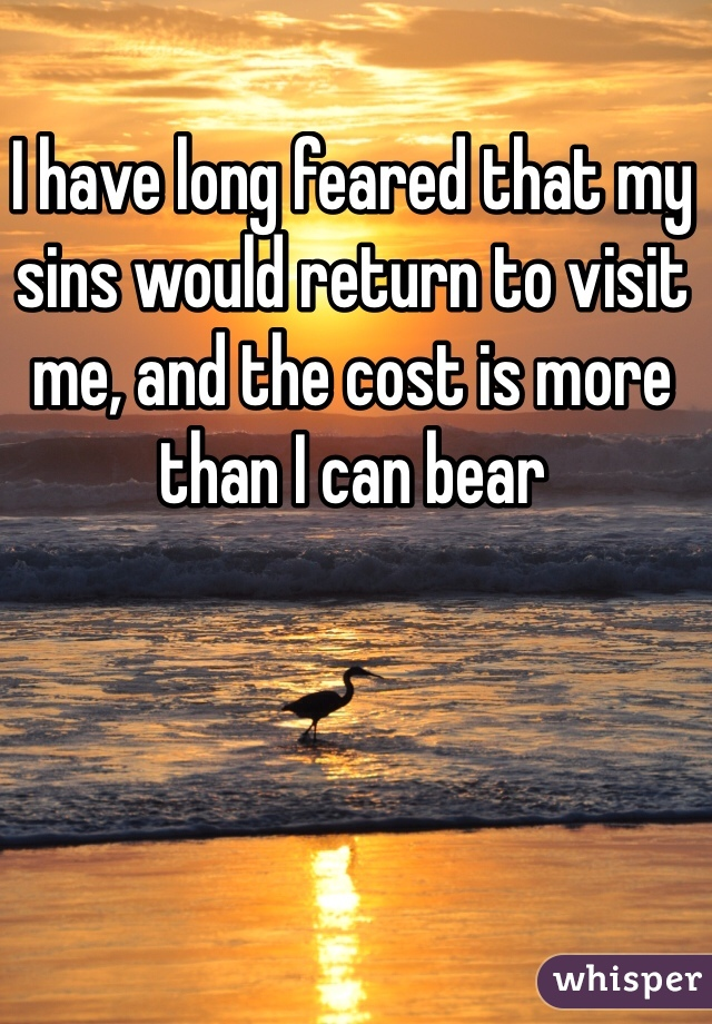 I have long feared that my sins would return to visit me, and the cost is more than I can bear