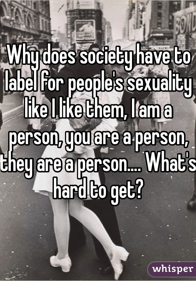 Why does society have to label for people's sexuality like I like them, I am a person, you are a person, they are a person.... What's hard to get?