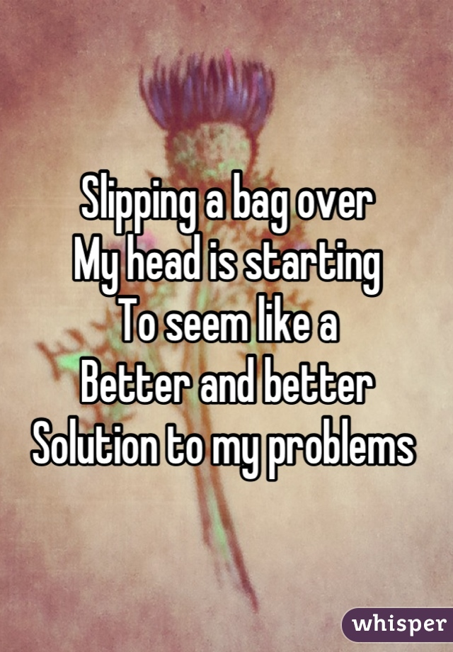 Slipping a bag over My head is starting To seem like a Better and better Solution to my problems