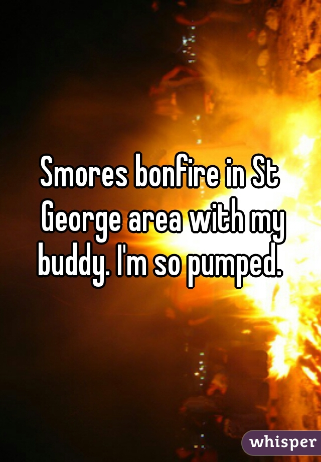 Smores bonfire in St George area with my buddy. I'm so pumped.