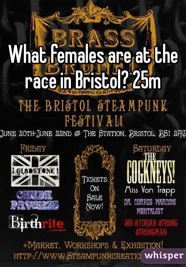 What females are at the race in Bristol? 25m