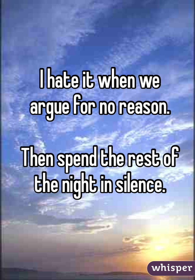 I hate it when we  argue for no reason.  Then spend the rest of  the night in silence.