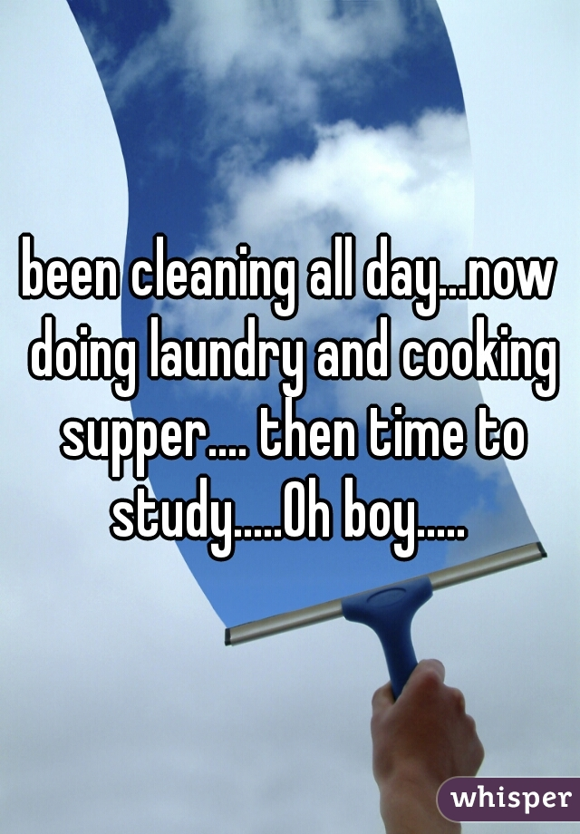 been cleaning all day...now doing laundry and cooking supper.... then time to study.....Oh boy.....