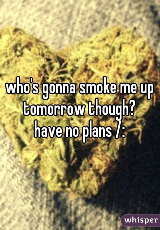 who's gonna smoke me up tomorrow though?  have no plans /: