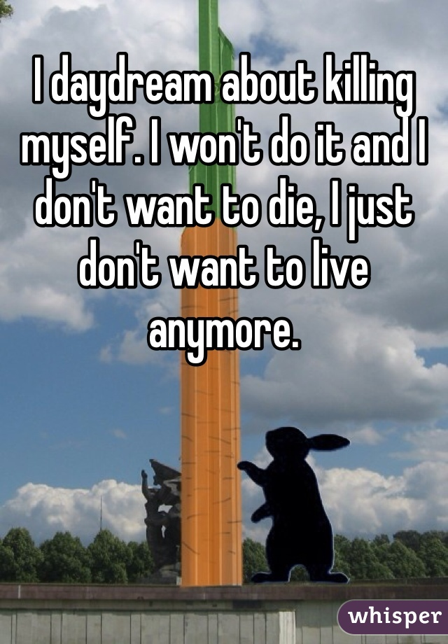 I daydream about killing myself. I won't do it and I don't want to die, I just don't want to live anymore.