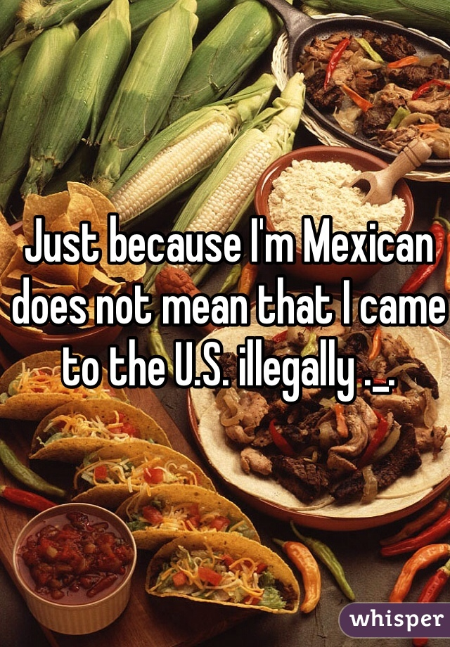 Just because I'm Mexican does not mean that I came to the U.S. illegally ._.