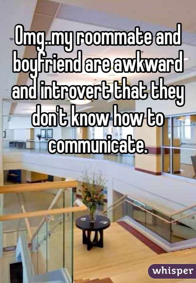Omg..my roommate and boyfriend are awkward and introvert that they don't know how to communicate.
