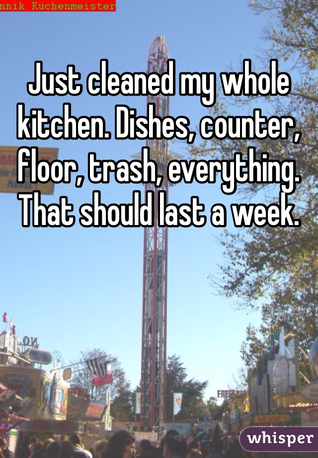 Just cleaned my whole kitchen. Dishes, counter, floor, trash, everything. That should last a week.