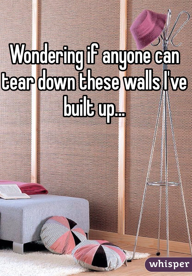 Wondering if anyone can tear down these walls I've built up...