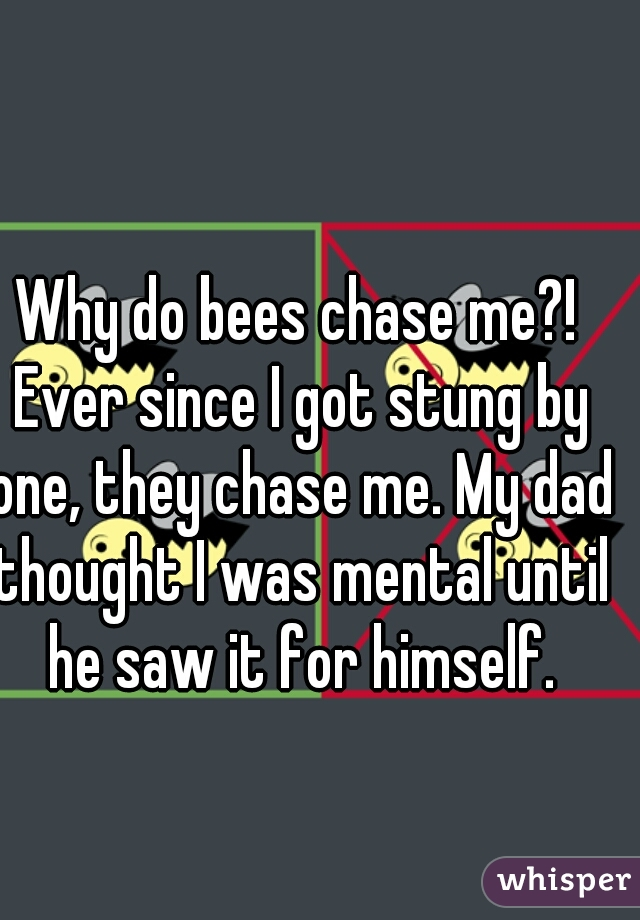 Why do bees chase me?! Ever since I got stung by one, they chase me. My dad thought I was mental until he saw it for himself.