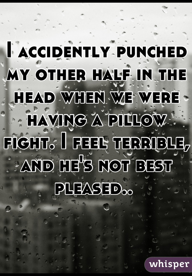 I accidently punched my other half in the head when we were having a pillow fight. I feel terrible, and he's not best pleased..