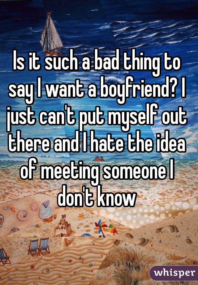 Is it such a bad thing to say I want a boyfriend? I just can't put myself out there and I hate the idea of meeting someone I don't know