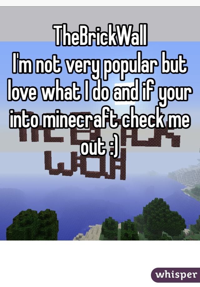 TheBrickWall I'm not very popular but love what I do and if your into minecraft check me out :)
