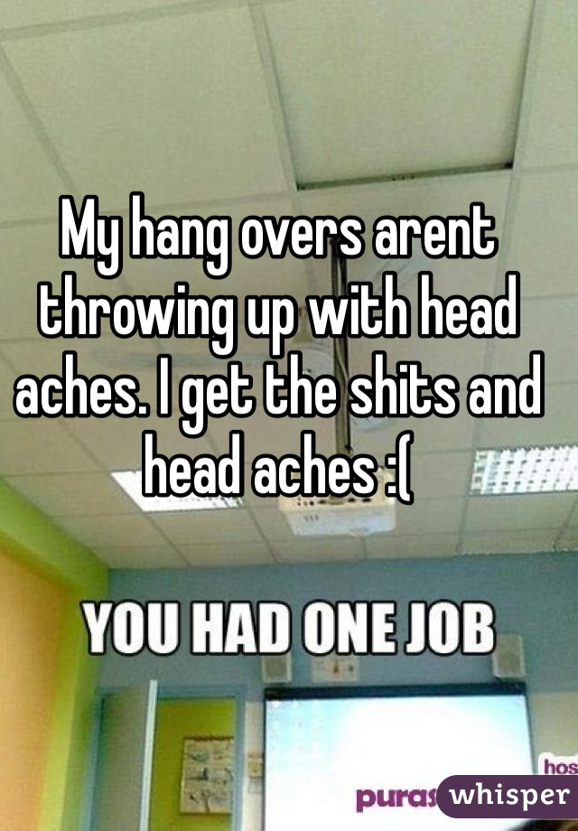 My hang overs arent throwing up with head aches. I get the shits and head aches :(