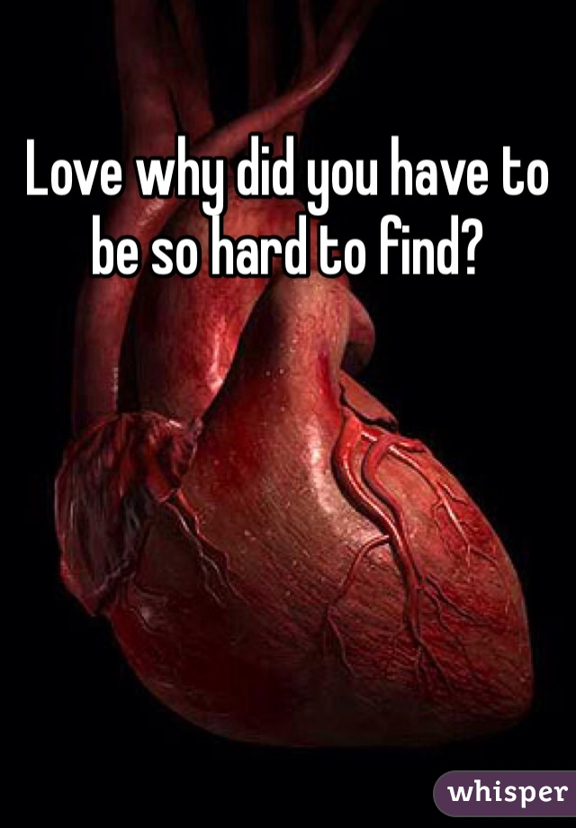 Love why did you have to be so hard to find?