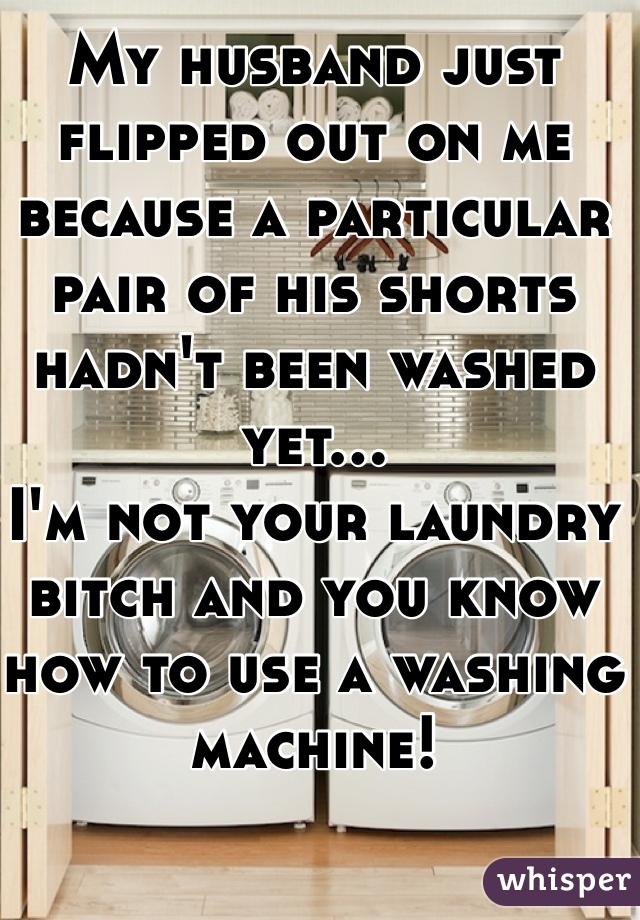 My husband just flipped out on me because a particular pair of his shorts hadn't been washed yet... I'm not your laundry bitch and you know how to use a washing machine!