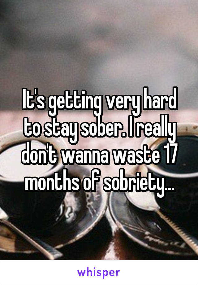 It's getting very hard to stay sober. I really don't wanna waste 17 months of sobriety...