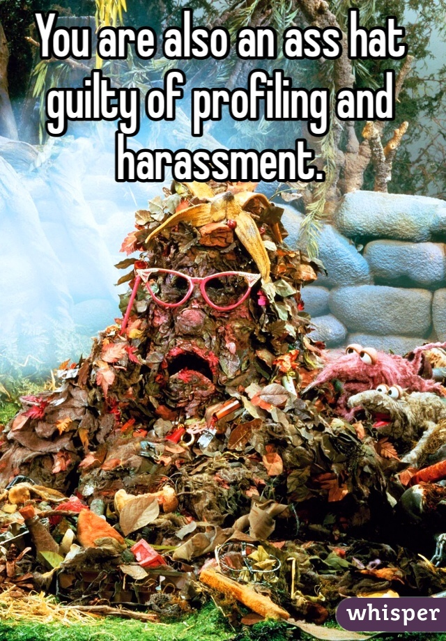 You are also an ass hat guilty of profiling and harassment.