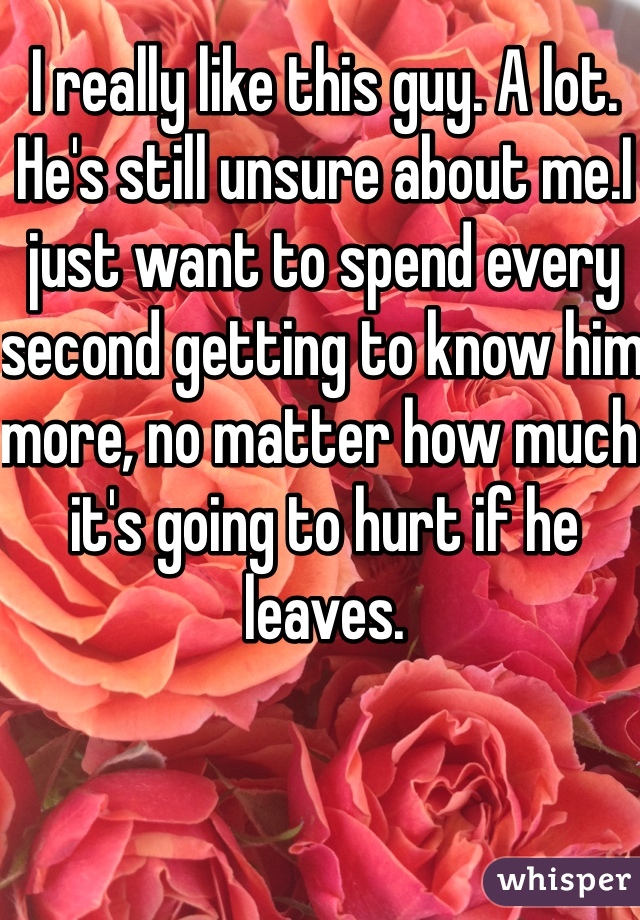 I really like this guy. A lot. He's still unsure about me.I just want to spend every second getting to know him more, no matter how much it's going to hurt if he leaves.