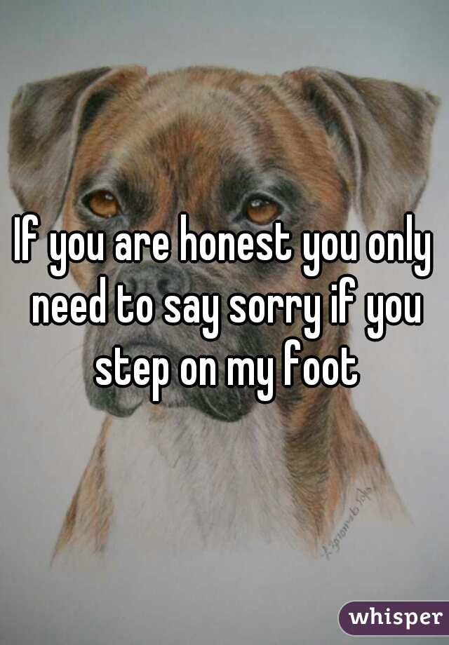 If you are honest you only need to say sorry if you step on my foot