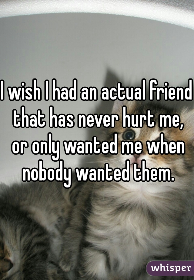 I wish I had an actual friend that has never hurt me, or only wanted me when nobody wanted them.