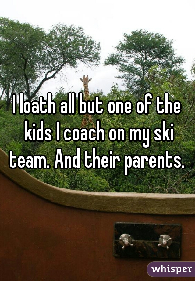 I loath all but one of the kids I coach on my ski team. And their parents.