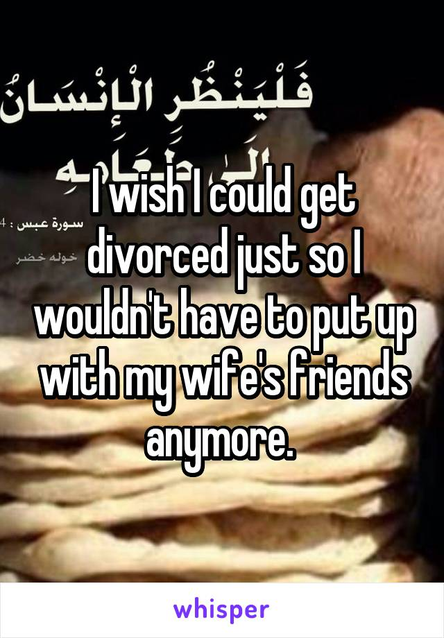 I wish I could get divorced just so I wouldn't have to put up with my wife's friends anymore.